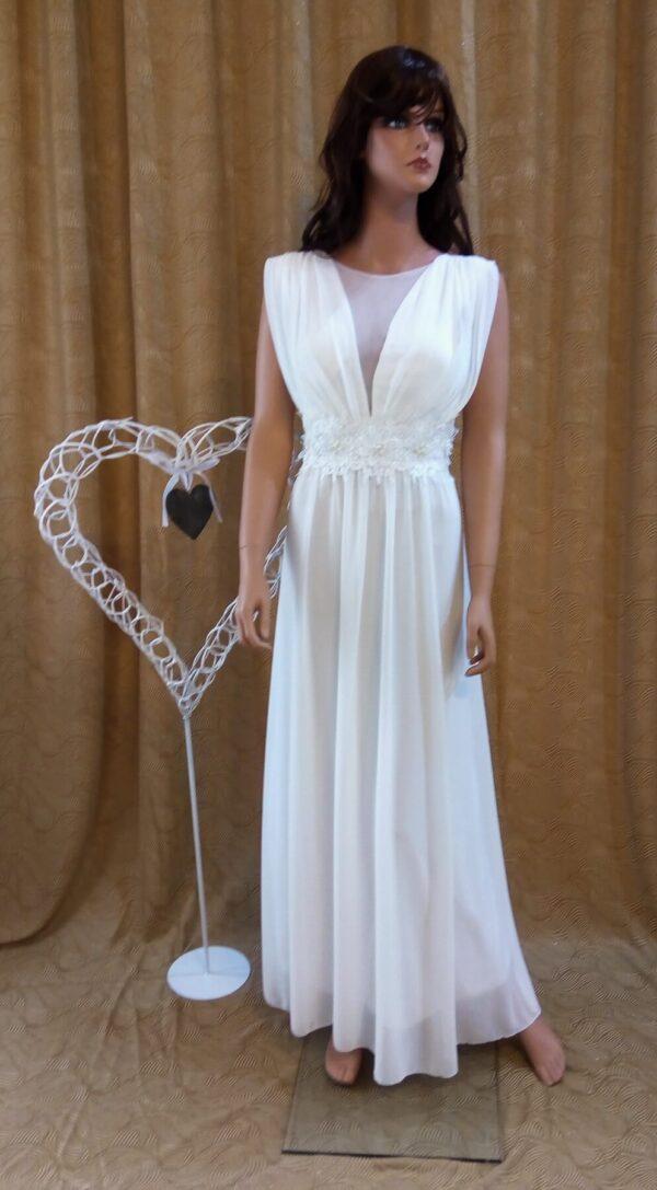 Hosszú, vállpántos chiffon alkalmi esküvői ruha1