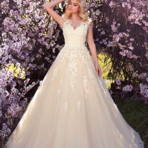 Ekrü, illúzió tüllös csipke vállpántos esküvői ruha