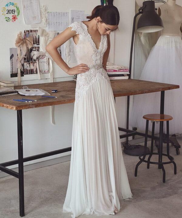 Karcsúsított, púder menyasszonyi ruha 1