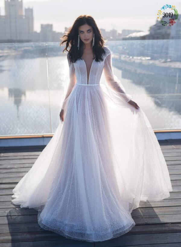 Fehér csillámos hosszú ujjas tüll menyasszonyi ruha