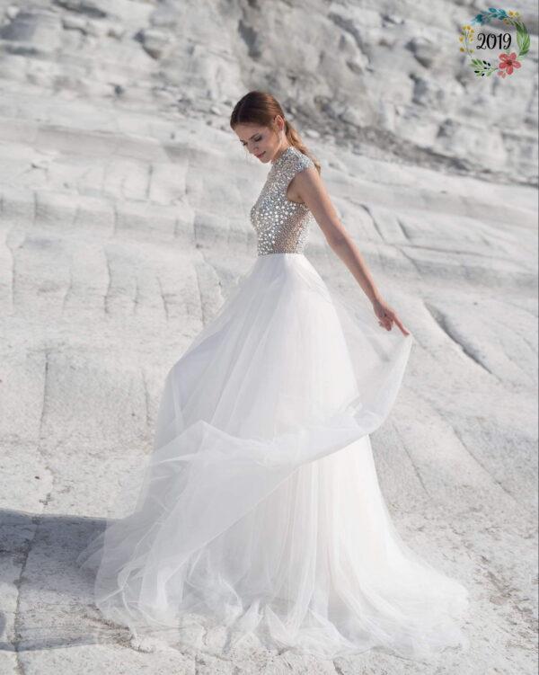 Flitteres, kristályos, garbós tüll menyasszonyi ruha 1