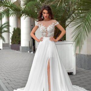 Hasított chiffon tengerparti menyasszonyi ruha