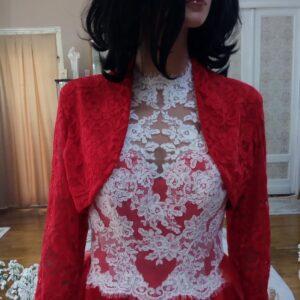 Piros csipke Menyasszonyi boleró