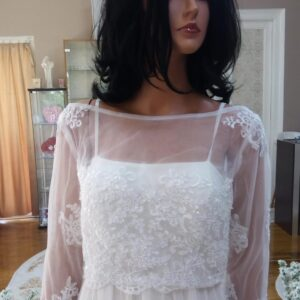 Fehér, zárt csipke és tüll menyasszonyi boleró