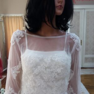 Tört fehér, zárt csipke és tüll menyasszonyi bolero