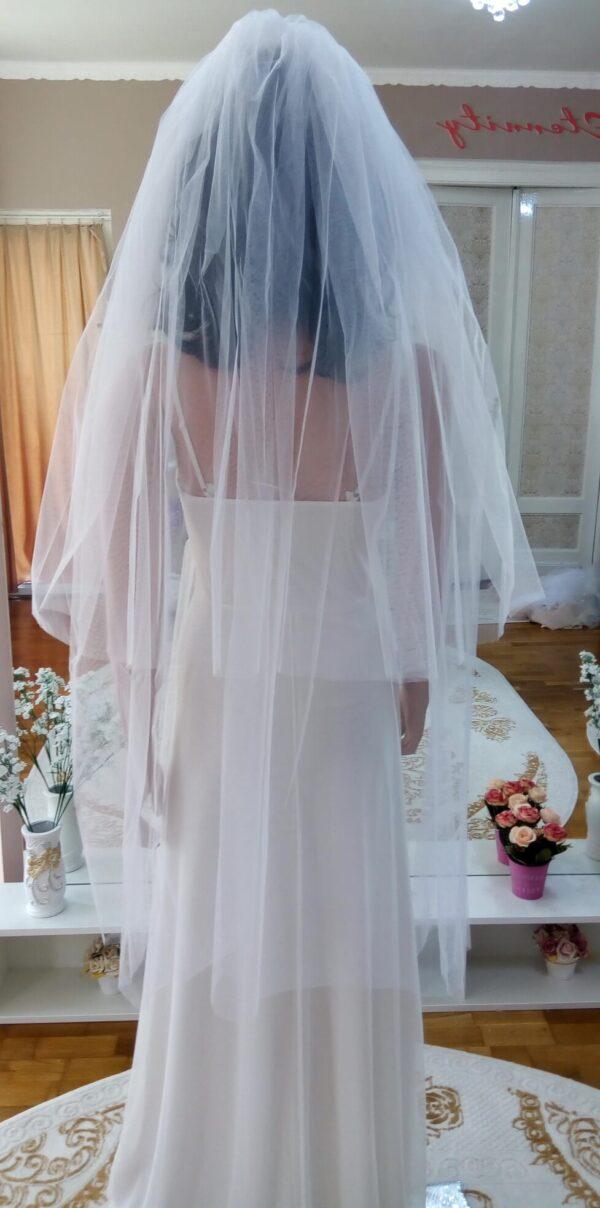 Fehér 2 rétegű tüll menyasszonyi fátyol