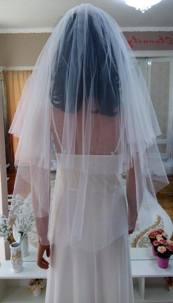 Sima 2 rétegű tüll menyasszonyi fátyol, több színben