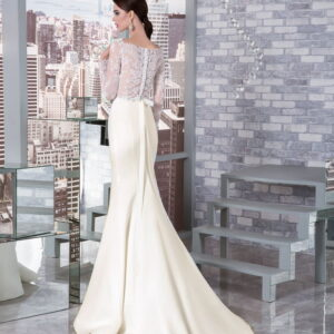 Tört fehér szatén egyenes menyasszonyi ruha 1