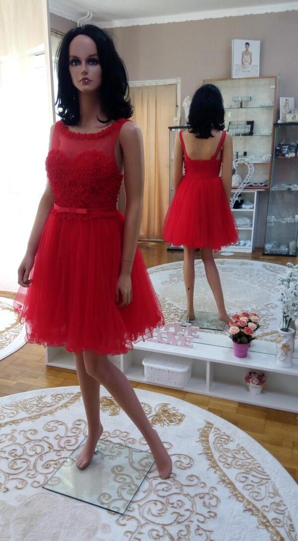 piros, tüllös, virágos menyecske ruha 1