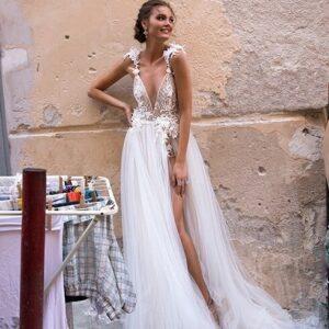 2 részes, rövid szoknya plusz tüll menyasszonyi ruha 1