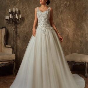Vállpántos ezüst szálas tüll menyasszonyi ruha 1