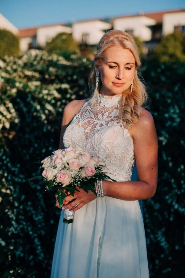 2 részes rövid csipke menyasszonyi ruha 1