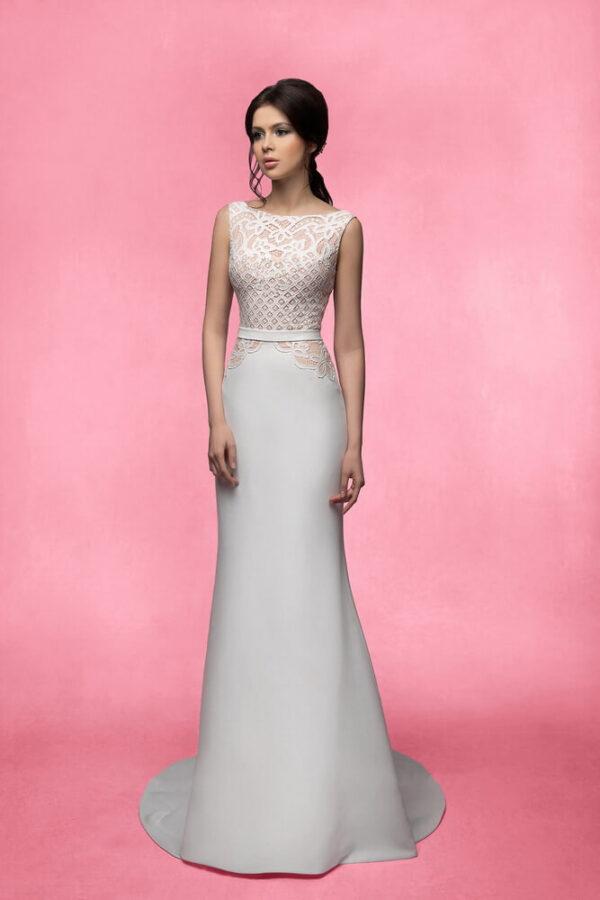 Chiffon zárt menyasszonyi ruha 1