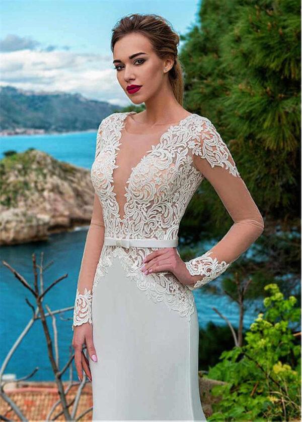Hosszú csipke ujjas selyem menyasszonyi ruha 1