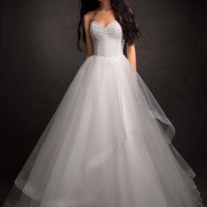 Lágy esés fodros menyasszonyi ruha 1