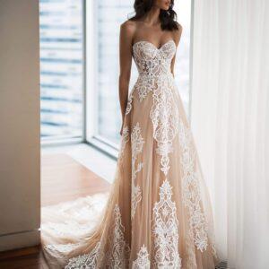 Sötét cappuccino tüll menyasszonyi ruha 1