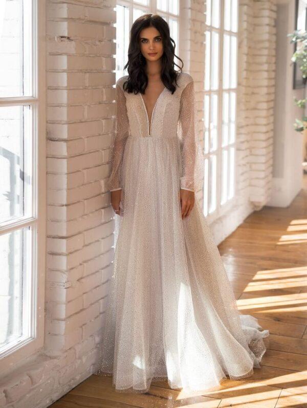 Arany csillámló bohó menyasszonyi ruha 1