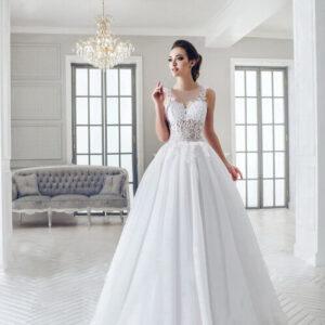 Fehér áttetsző csipke tüll menyasszonyi ruha