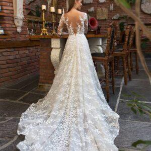 Cappuccino, hosszú ujjas A vonalú menyasszonyi ruha 1