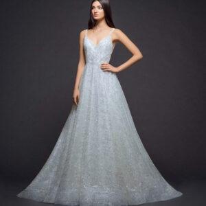 Fehér, csillámló, kockás tüll menyasszonyi ruha
