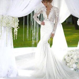 Fehér, hosszú ujjas pamut csipke sellő ruha 1
