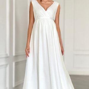 Tört fehér, chiffon kismama ruha
