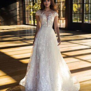 2 részes levehető csipke szoknyás tüll menyasszonyi ruha 1