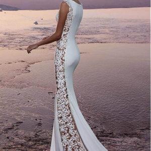 Oldalt áttetsző csipke díszítésű menyasszonyi ruha 1