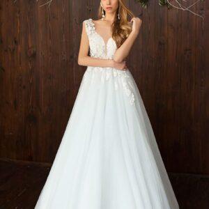 Fehér, vállpántos, virágos lágyesésű menyasszonyi ruha