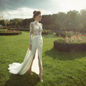 Hosszú ujjas, csipke garbós, chiffon menyasszonyi ruha 1