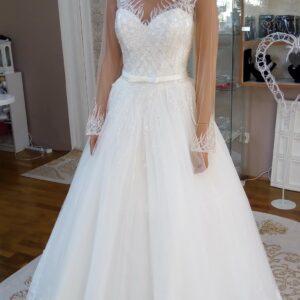 Hosszú ujjas csillámló A vonalú menyasszonyi ruha 1