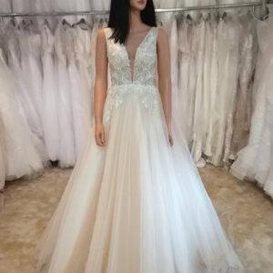 Karamell vállpántos menyasszonyi ruha
