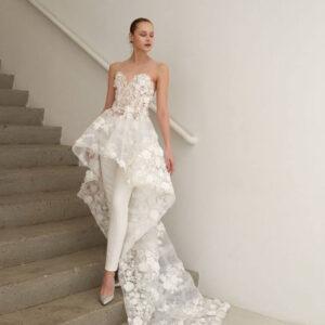 2 részes menyasszonyi ruha nadrággal