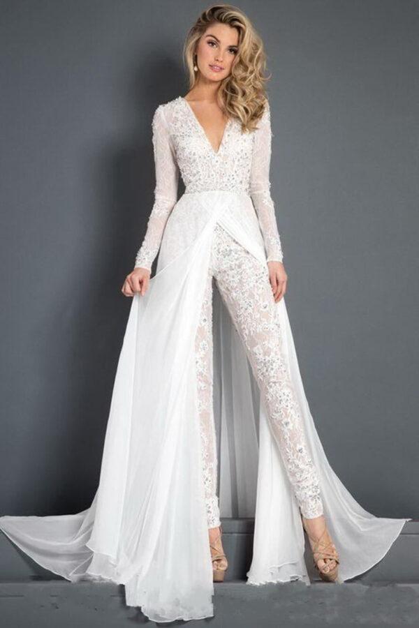 Fehér egyrészes csipke menyasszonyi nadrág, overál