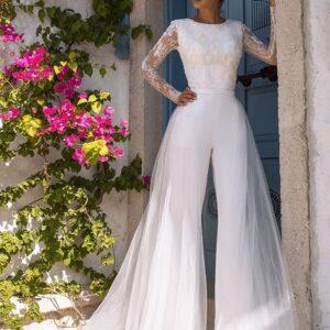 Fehér egyrészes esküvői nadrág, overál