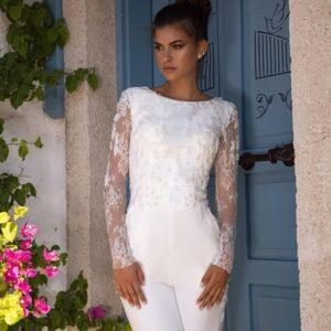 Fehér egyrészes esküvői nadrág, overál2