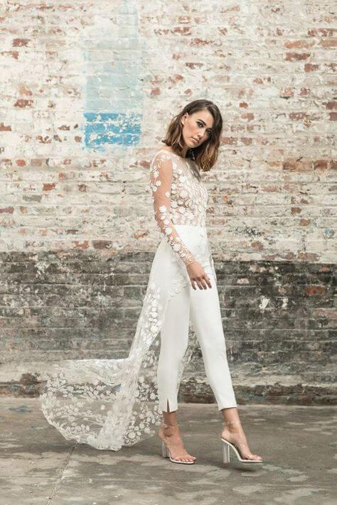 hosszú ujjas 2 részes menyasszonyi ruha, nadrággal