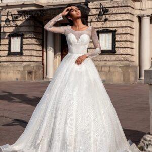 Csillámló és flitteres ujjas menyasszonyi ruha 1
