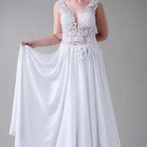 Egyenes, chiffon és csipke menyasszonyi ruha