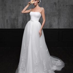 Szatén és tüll menyasszonyi ruha, levehető tüll uszállyal 1