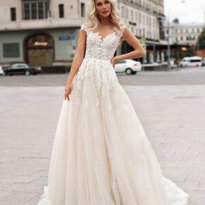 Tört fehér, levél mintás tüll menyasszonyi ruha 1