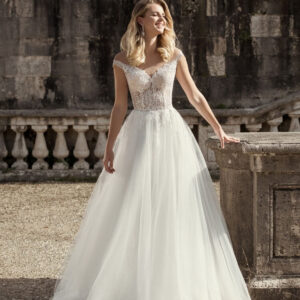 Tört fehér, vállpántos tüll menyasszonyi ruha 1