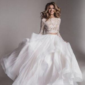 2 részes, variálható bolerós, fodros menyasszonyi ruha