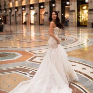 Félsellő, cappuccino menyasszonyi ruha, boleróval 1
