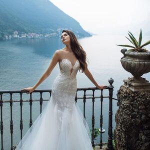 Fehér, sellő menyasszonyi ruha
