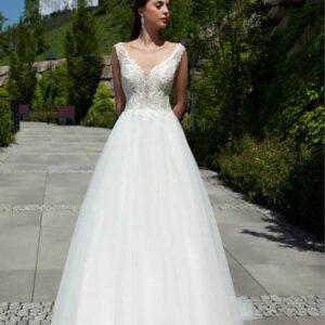 Lágy esésű , csipke vállpántos menyasszonyi ruha