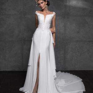 Selyem, szatén és chiffon, lecsatolható uszályos, hasított menyasszonyi ruha 1
