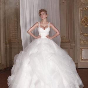 csipke vállpántos, fodros tüll menyasszonyi ruha 2