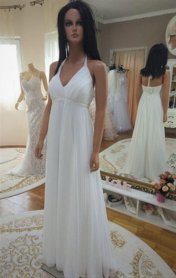 Chiffon, nyakpántos, lágyesésű menyasszonyi ruha 1