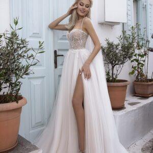 Homok, hasított lágy menyasszonyi ruha 1
